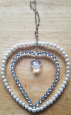 Hanging Faux Diamond Pearl and Crystal Heart Decoration