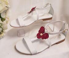 Calzado de Mujer Niñas Sandalias BLANCO TALLA 35 Hecho Italy Real Cuero Verano