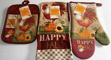 FALL Towel,Oven Mitt & Pot Holder Set 100% Cotton  HAPPY FALL/ROOSTER