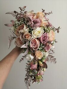 "Bridal Silk Rose Gold & Dusty Pink Cascade Teardrop Bouquet (12""x20"") Large"