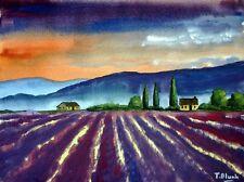 ORIGINAL AQUARELL - Abend in der Provence.
