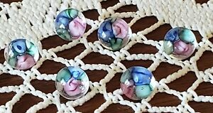Vintage Blown Glass Paperweight Buttons Pink Blue Roses Flowers Set Of 6