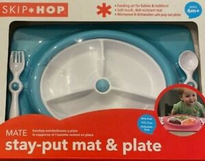 Skip Hop Stay-Put Mat & Plate Blue Feeding Set NEW NIP Ages 6 months and up
