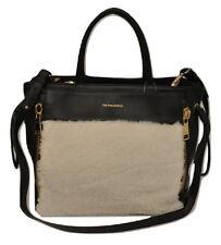 Via Repubblica Italy Genuine Shearling / Leather Handbag Cream/Black Nwt $698
