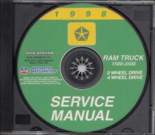 1998 Dodge Ram Truck Service Manual CD-ROM 1500 2500 3500 Pickup Shop Gas Diesel