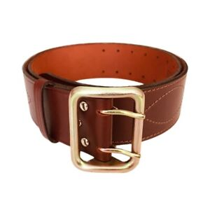 Officer brown leather belt stitched thread stamped metal buckle russian army