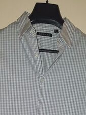 Theory Gray/White Check Darted Cotton Stretch Button-Front L/S Shirt Sz. L- Slim