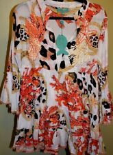 ANTICA SARTORIA ORANGE AND WHITE CORAL AND ROPE PRINT TOP ONE SIZE  NWT