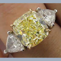 5.80CT Fancy Yellow Cushion Diamond Fantasy 3 Stone 14K Gold Engagement Ring
