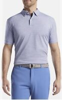 NWT Peter Millar Polo Golf Shirt Crown Crafted Blue Striped S/S Size Large