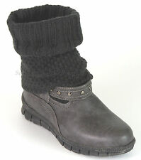 Hush Puppies Stiefel 37 LEDERimitat Boots Textil Grau Wellness Stiefelette G NEU