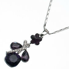 12.37 Ct Square & Pear Cut Style Shape Amethyst CZ 18K White Gold Plated Pendant