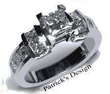 1.75 Ct Princess Cut Diamond Engagement Wedding Ring 14K Solid White Gold PD458M