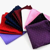 Men Silver Polka Dot Shiny Hanky Pocket Square Wedding Party Tuxedo Handkerchief