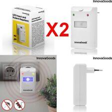 2 x Ahuyentador de Insectos Roedores eléctrico por ondas y Luz LED,Alcance 180m2