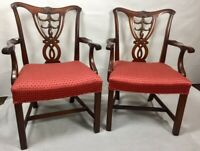 Mahogany Carved  Chippendale Style Arm Chairs by HICKORY-Pair