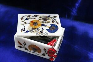 Small Jewelry White Stone Marble Inlay Box Floral Handicraft Arts Gift for Her