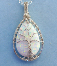 Opal Necklace, WHITE opal Necklace Sterling Silver,October Birthstone Necklace,