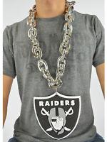 New NFL Oakland Raiders SILVER Fan Chain Necklace Foam Magnet - 2 in 1