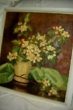 Antique Floral Sunday Oil Painting Victorian Early 1900's Great Colors
