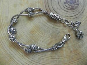 Brighton~2 Strand Bracelet with Clear Rinestones Crystals 7-7 3/4""