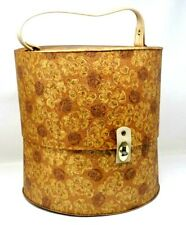 Vintage Everbest Hollywood Gold Brocade Look Hat Box Round Wig Hat Case