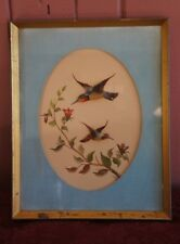 VTG. FRAMED BIRD THEMED WATER COLOR? WITH FEATHER ART