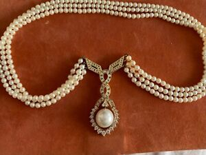 Vintage Pearl and Diamond Necklace for sale