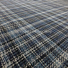 Blue Geometric Tartan Checked Pattern Chenille Upholstery & Curtains Fabric