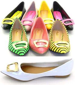 Femmes Neuf Boucle Bout Pointu Ballerine Danse Chaussure à Enfiler Sz 5.5-10