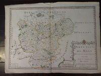 "RARE Jean Baptiste Nolin Antique Copper Map of ""Direction Du Mans"", Circa 1710"