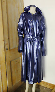 Shiny Blue PVC Rain Coat Mac Raincoat PVC-U-Like Slicker, Blue 4XL 5XL Vinyl