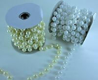 12MM Faux Pearl Plastic BEADS on a String Garland ROLL 6 yards CHOOSE COLOR
