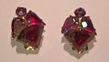 Signed CORO Vintage 'JULIANA Style' Gorgeous Earrings Reds Gold Clip On