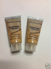 2 X TRAVEL SIZE Maybelline EverFresh Makeup Foundation ( NATURAL BEIGE ) NEW