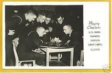 Real Photo Postcard - Sailors Checkers Great Lakes IL