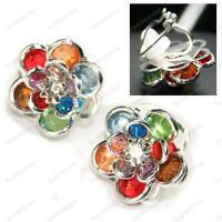 CLIP ON multi ROSE EARRINGS red,green,blue flower SILVER PLTD colourful clips