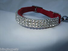 Pupteck Ba3007 Soft Velvet Safe Cat Adjustable Collar Bling Diamante With Bells-