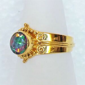 Sajen Ring 14k Gold Sterling Silver 925 Mystic Topaz Gemstone Sz 9 3/4