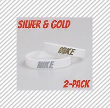 Nike Baller band rubber bracelet wristband White Gold Silver AF1 2-PACK