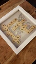 Large personalised scrabble tile tree picture box frame - made to order