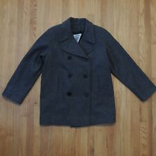 Marvin Richards Double Breasted Wool Pea Coat Womens Gray Size XL