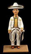Lupita Najaco Ceramic Figurine Mexican Folk Art Doll White Charro/Horseman