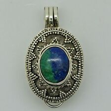 Vintage LOCKET PHOTO BOX Gemstone Pendant in solid 925 Sterling Silver (New)