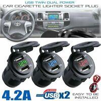 12/24V 4.2A Dual 2USB Car Motor Charger Socket Adapter Outlet LED Voltmeter A+++