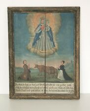 Antike Votivtafel Votivbild m. Hl.Maria Sakral Gemälde Barock Bayern ExVoto 1743