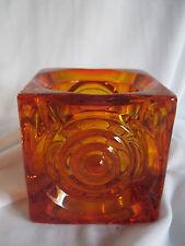 Viking Glass Bullseye Votive Candle Holder Persimmon Orange Cube Square