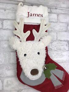 """Pottery Barn Kids Reindeer Luxe Velvet Christmas Stocking Monogram """"James"""""""