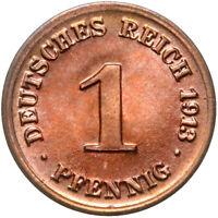 Deutsches Reich - Münze - 1 Pfennig 1913 D - Stempelglanz UNC