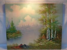 VTG OIL PAINTING LANDSCAPE FOREST MOUNTAIN TREES COUNTRY SKY CLOUDS Folk Art